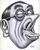 WOLVERTON, BASIL - Magazine Cartoon - actor Leo G Carroll airbrushed artwork 1950s Comic Art