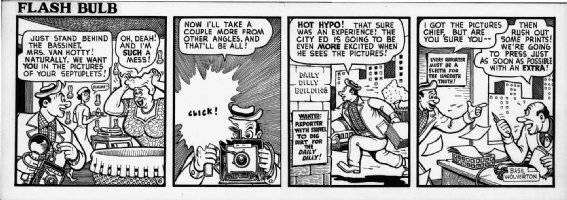 WOLVERTON , BASIL- Flash Bulb daily #6 of only 12 existing strips, editor & photographer & Mrs Van Hotty 1950s Comic Art