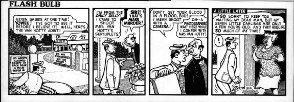 WOLVERTON , BASIL- Flash Bulb daily #4 of only 12 existing, photographer meets butler &  Mother - 1950s Comic Art