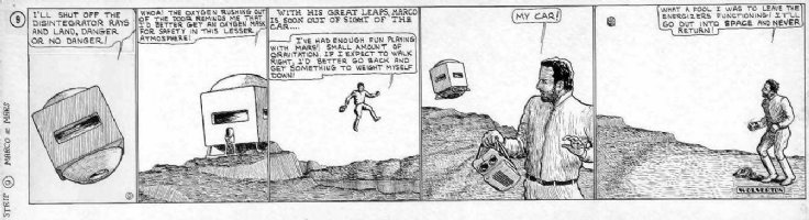 WOLVERTON, BASIL - Marco of Mars daily #9 1929, lands and losses ship - 1st year of Sci Fi comic strips - same as Buck Rogers Comic Art