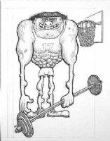 WOLVERTON, BASIL - Topps large cartoon - Luntz Armstrong basketball 1960s Comic Art
