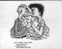 WOLVERTON, BASIL - Couple fight knife & fork promotional art for The Totem Pole Inn Comic Art