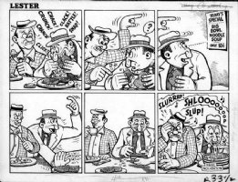 WOLVERTON, BASIL - Comedy Magazine: Lester Sunday  dining  1940s Comic Art