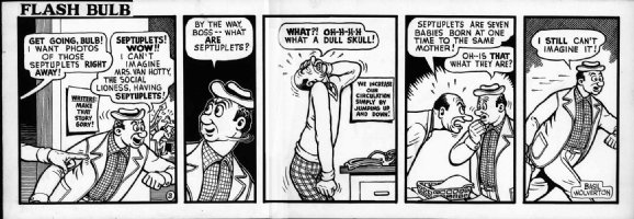 WOLVERTON , BASIL- Flash Bulb daily #3 of only 12, editor & photog 1950s Comic Art