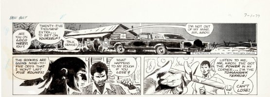 KUBERT, JOE - Big Ben Bolt daily 7-1 1977, rare 2 tiers! native boxer to bet on self  Comic Art
