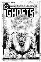 KUBERT, JOE - Ghost #111 cover, Professor Burton & mental demon, 1981 Comic Art