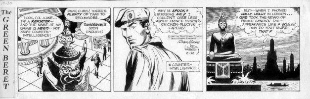 KUBERT, JOE - Tales of Green Beret daily. 10/20 1967, Beret hero meets at a temple Comic Art