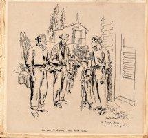 SICKLES, NOEL - Cartoon art, Frenchman calling Americans trouble-makers, dedicated to artist Frank Thorne Comic Art