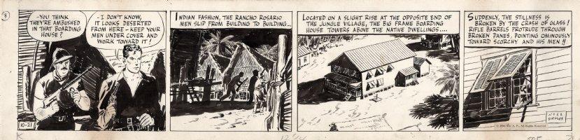 SICKLES, NOEL - Scorchy Smith daily 10/21 1936, Scorchy with gun & machine gun ally Comic Art