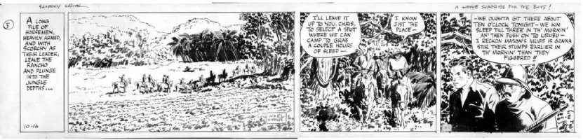 SICKLES, NOEL - Scorchy Smith daily 10/16 1936, Scorchy & jungle horsemen Comic Art