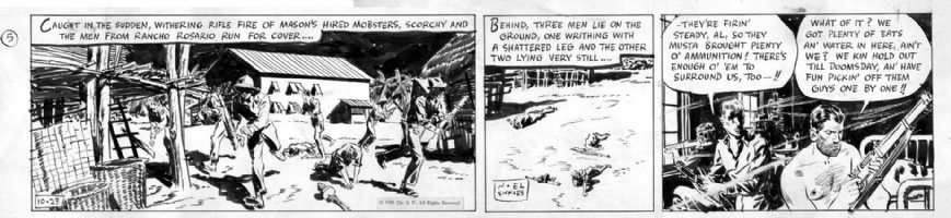 SICKLES, NOEL - Scorchy Smith daily 10/23 1936, Scorchy and gang in fire-fight Comic Art