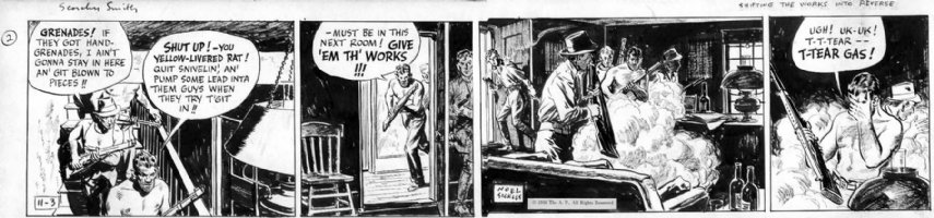 SICKLES, NOEL - Scorchy Smith daily 11/3 1936, Scorchy with rifle, tear gas Comic Art