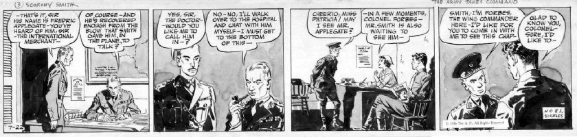 SICKLES, NOEL - Scorchy Smith daily 7/22 1936, painted wash tones! Scorchy sees commanders Comic Art