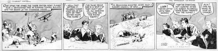 SICKLES, NOEL - Scorchy Smith daily 6/16 1936, painted wash tones! Scorchy, plane flight in desert Comic Art