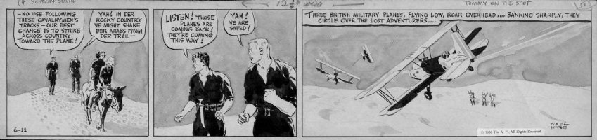 SICKLES, NOEL - Scorchy Smith daily 6/11 1936, painted wash tones! Scorchy & crew in desert, plane Comic Art