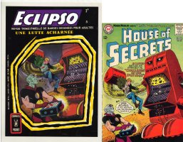 TOTH, ALEX design - Eclpso #5 French painted cover 1968, based on Toth's House of Secrets #67 Eclipso cover & Splash Comic Art