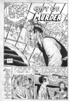TOTH, ALEX - Adventures into Darkness #15 large Splash pg 1  Gift of Murder  - 2 pg story Comic Art
