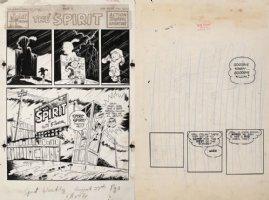EISNER, WILL - Spirit Sunday 8/27 1950 Cover/Splash + Splash prelim, Spirit called from Camp Comic Art