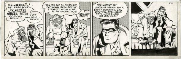 FINE, LOU & JACK COLE - Spirit daily 2/23 1944, Spirit & Ebony discuss Ellen & marriage Comic Art