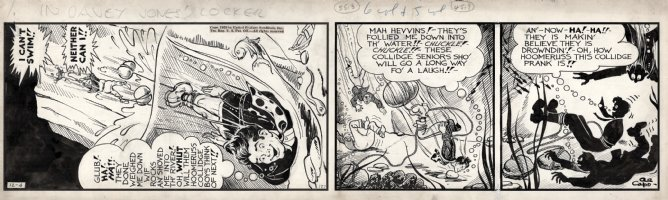 CAPP, AL - Lil' Abner 12/4 1939 daily, Abner thrown in sea Comic Art