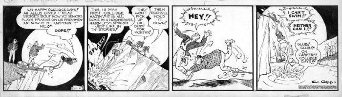 CAPP, AL - Lil' Abner daily 12/2 1939, Abner tied to boulder Comic Art