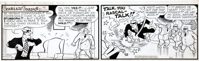 CAPP, AL - Lil' Abner daily 3/2 1948,  Fearless Fosdick beats Chippendale Chair villain to make talk Comic Art