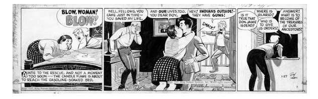 CRANE, ROY - Buz Sawyer daily 1-27 1947, hero kissed  Comic Art