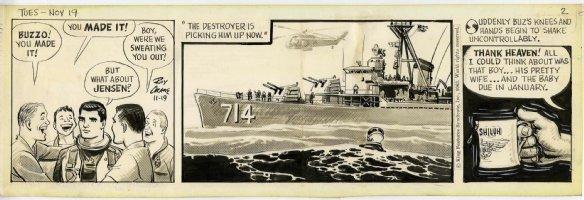 CRANE, ROY - Buz Sawyer daily 11-19- 1963 on craft-tint board Comic Art