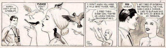 CRANE, ROY - Buz Sawyer daily 10/26-1951, Buz & Blonde bird tamer Neri / craft-tint board Comic Art