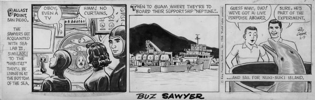 CRANE, ROY - Buz Sawyer daily 2-9 1968, Buz and his family�and a dolphin, get ready for an adventure living under the ocean! Comic Art