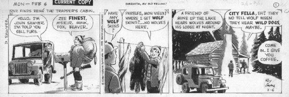 CRANE, ROY - Buz Sawyer daily 2/6 1978, fur trapping Comic Art