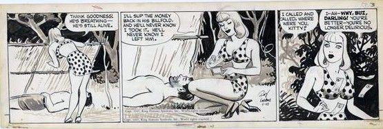 CRANE, ROY - Buz Sawyer daily 5/28 1947, Buz, bikini Miss Kitty Comic Art