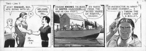 CRANE, ROY - Buz Sawyer daily 1/3 1978, Buz meets Cougar Comic Art