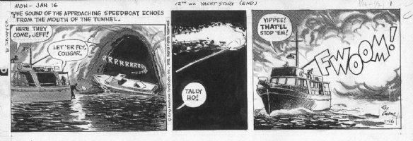 CRANE, ROY - Buz Sawyer daily 1/16 1978, speedboat Comic Art