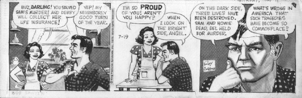 CRANE, ROY - Buz Sawyer daily 7/19 1975, Buz and wife Comic Art