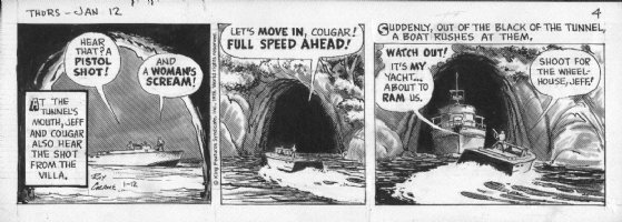 CRANE, ROY - Buz Sawyer daily 1/12 1978, boating battle Comic Art