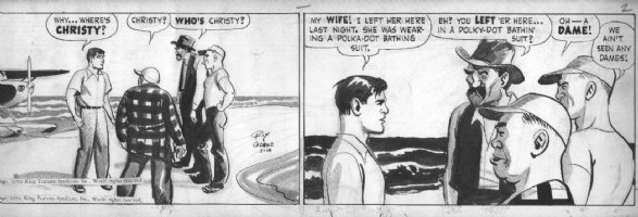 CRANE, ROY - Buz Sawyer daily 2-14 1950, 2 panels, ink and wash tones Comic Art