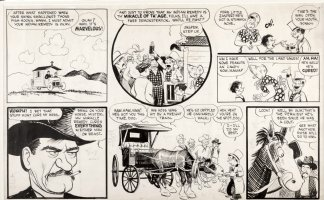 CRANE, ROY - Wash Tubbs Sunday lower half, Wash & his aardvark sell remedy medicine 1930s Comic Art
