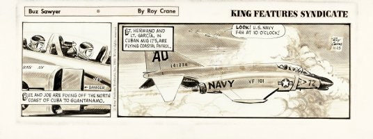 CRANE, ROY - Buz Sawyer daily 11/23 1962, on craft-tint board. Buzz's jet Comic Art
