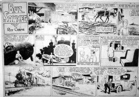 CRANE, ROY - Buz Sawyer Sunday 3/9 1947, Sweeny - planes, trains, autos Comic Art