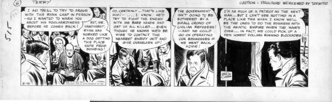 CANIFF, MILTON - Terry & the Pirates daily, 2/21 1942, start of  WW2 Comic Art