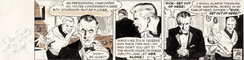 DRAKE, STAN - Juliet Jones daily 11/26 1959 signed 1960, Juliet's older, presidential date Comic Art