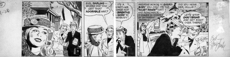 DRAKE, STAN - Juliet Jones daily 4/20 1956, larger, Eve demos J.Jones hat - with Autograph Comic Art