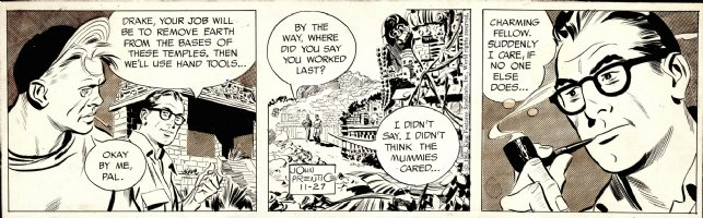 WILLIAMSON, AL / JOHN PRENTICE - Rip Kirby daily, Rip studies Mummies Tomb, 11/27 1961 Comic Art