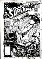 WILLIAMSON, AL & PARIS CULLINS - Superman #409 cover Superman battles a monster with Lois Lane's help! Signed by Williamson in UPC box Comic Art