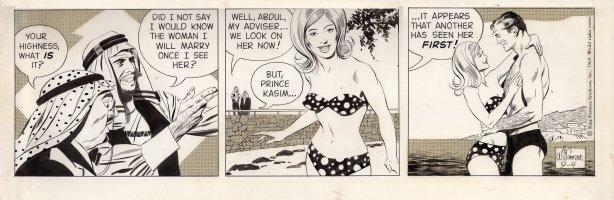WILLAMSON, AL - Secret Agent Corrigan (X-9) daily, Phil & Wilda in bikini spied by Prince  9/4 1969 Comic Art
