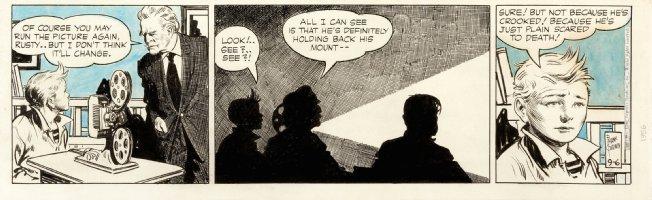 GODWIN, FRANK - Rusty Riley daily 9/6 1956 blue-wash - Rusty watched horse film Comic Art