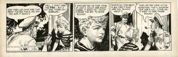 GODWIN, FRANK - Rusty Riley daily 9/24 1949, early daily talk about big fish Comic Art