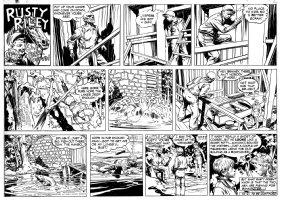 GODWIN FRANK: Rusty Riley Sunday 10-2 1955, in the lake Comic Art