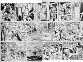 GODWIN, FRANK: Rusty Riley Sunday 10/2 1955, into the water Comic Art